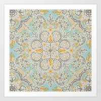 Gypsy Floral in Soft Neutrals, Grey & Yellow on Sage Art Print