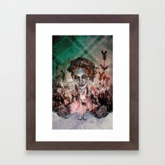 IN HER VICTORY GARDEN Framed Art Print