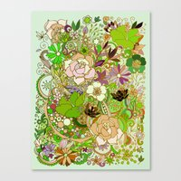 Detailed summer floral pattern, green Canvas Print