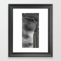 Chrysler Building Lightning Strike Framed Art Print