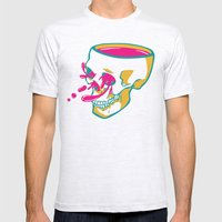 Liquid Thoughts:Skull Mens Fitted Tee Ash Grey SMALL
