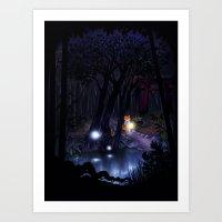 Mythical forest Art Print