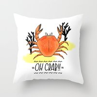 Oh Crab! Illustration Throw Pillow