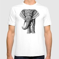 Navajo Elephant Mens Fitted Tee White SMALL
