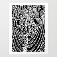 Feather - black Art Print