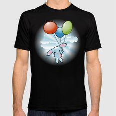 Cute Little Blue Bunny Flying With Balloons Mens Fitted Tee Black SMALL