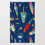 Rug featuring Rockets In Traffic by Chicca Besso
