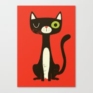 Canvas Print featuring Black Cat by Monster Riot
