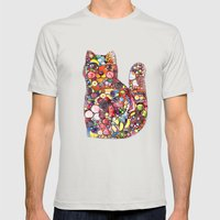 Candy Cat Mens Fitted Tee Silver SMALL