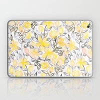 Sunny Yellow Crayon Striped Summer Floral Laptop & iPad Skin