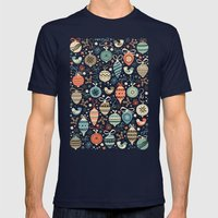 Festive Folk Charms Mens Fitted Tee Navy SMALL