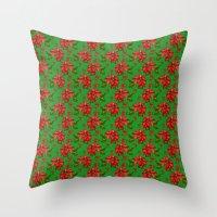 Red Poinsettia Plaid Throw Pillow