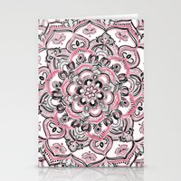 Magical Mandala in Monochrome + Pink Stationery Cards
