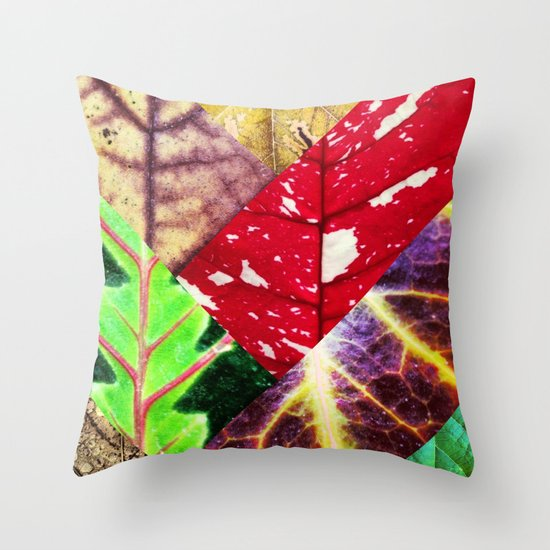 Leaf Collage Throw Pillow