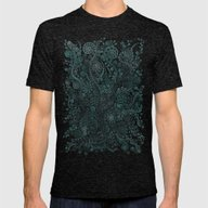 Teal Ornaments Mens Fitted Tee Tri-Black SMALL