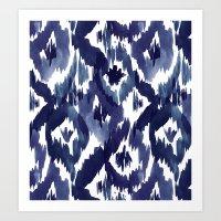 Indigo Blue Ikat Art Print