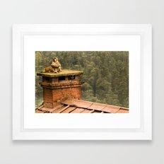 Monkey meditation Framed Art Print