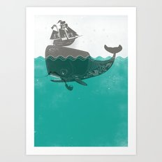 Belly of the Whale - Hipster Edition (with pirates) Art Print