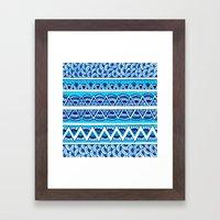 Shades Of Blue Zigzag Framed Art Print