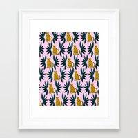 Cheetah And Leaves Framed Art Print