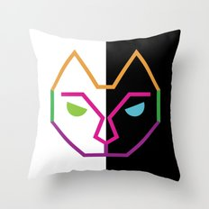 Abstract Multicolored Cat Throw Pillow
