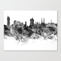 Vienna skyline in black watercolor  Canvas Print