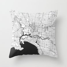 Melbourne City Map Gray Throw Pillow