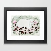 White Rabbit, Pink Poppies Framed Art Print