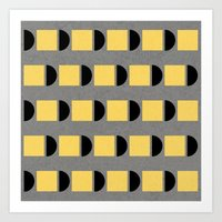 shapes in yellow, grey and black Art Print