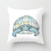 Turquoise Tortoise Illustration Throw Pillow
