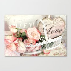 Shabby Cottage Love Heart Roses Floral Garden Decor Canvas Print