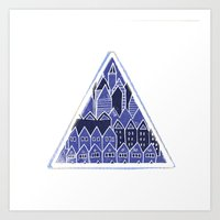 Triangle Houses In Blue Art Print