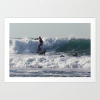Winter Surfing Art Print