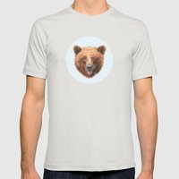 Brown Bear portrait Mens Fitted Tee Silver SMALL