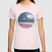 LONELY BEACH Womens Fitted Tee Light Pink SMALL