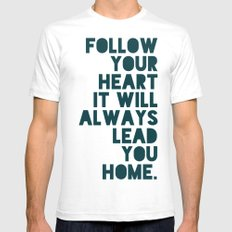 Follow Your Heart Mens Fitted Tee SMALL White