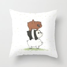 We Bare Bears by Maria Piedra Throw Pillow