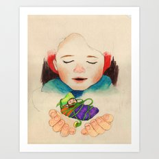 winter boy and fairy Art Print