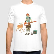 Guitar Fawn SMALL White Mens Fitted Tee