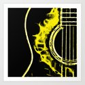 Pop Art Guitar Yellow Art Print