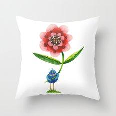 Red Wonder Flower Throw Pillow