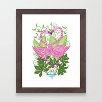 A Flamingo Love Affair Framed Art Print