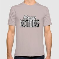 Rue Nothing Original Logo White and Black 2 Mens Fitted Tee Cinder SMALL