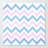 Blue Pink Chevron Patter… Canvas Print