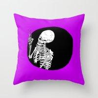 Skeleton Wink Throw Pillow