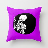 Skeleton Wink Throw Pillow