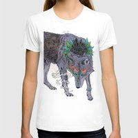 Journeying Spirit (wolf) Womens Fitted Tee White SMALL