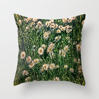 Daisy Carpet Dark Throw Pillow