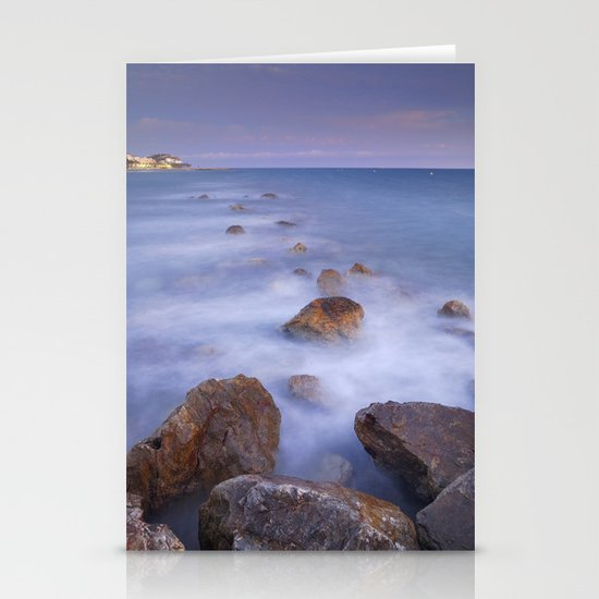 Blue sunset at the rocks Stationery Card