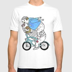 On how bicycle riders utilize team work in certain situations. SMALL White Mens Fitted Tee